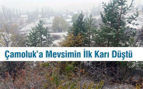 Çamoluk'a yılın ilk karı düştü