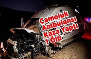 Çamoluk Ambulansı kaza Yaptı 1 Ölü